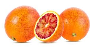 在白色隔绝的成熟红色桔子 免版税库存照片