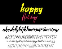 在白色隔绝的手拉的字体集合 刷子被绘的字符:小写和大写 传染媒介商标字体 库存例证