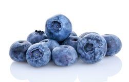 在白色隔绝的新鲜的有机蓝莓 库存图片