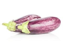 在白色隔绝的新鲜的未加工的紫色镶边茄子 库存照片