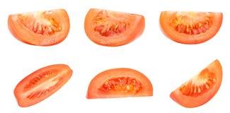 在白色隔绝的新鲜的红色蕃茄的汇集 库存照片