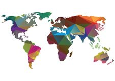 在白色隔绝的明亮的传染媒介世界地图剪影 库存照片