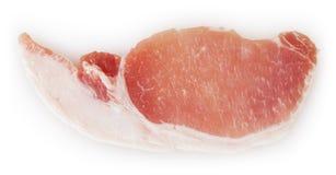 在白色隔绝的未加工的猪肉 库存照片