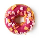 在白色隔绝的桃红色多福饼,从上面 图库摄影