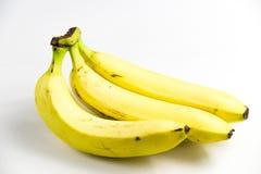 在白色隔绝的没有photoshoped 100%自然eco红色香蕉 免版税图库摄影