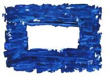 在白色隔绝的油手画蓝色框架 图库摄影