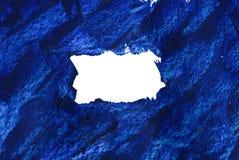 在白色隔绝的油手画蓝色框架 库存图片