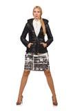 在白色隔绝的波隆纳夹克的俏丽的妇女 免版税库存照片