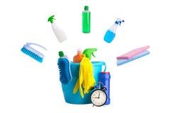在白色隔绝的洗涤剂概念清洁时间 库存图片
