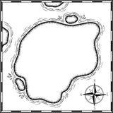 在白色隔绝的海盗珍宝地图手拉动画片贷方,在无人居住的海岛发怒标志方式查寻金胸口的棕榈 库存例证