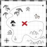在白色隔绝的海盗珍宝地图手拉动画片贷方,在无人居住的海岛发怒标志方式查寻金胸口的棕榈 向量例证