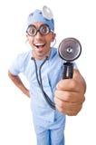 在白色隔绝的滑稽的医生 图库摄影