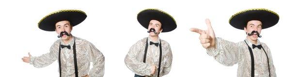 在白色隔绝的滑稽的墨西哥人 图库摄影