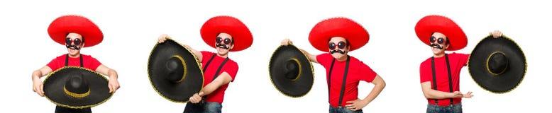 在白色隔绝的滑稽的墨西哥人 免版税库存图片
