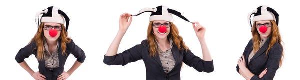 在白色隔绝的滑稽的妇女小丑 库存照片