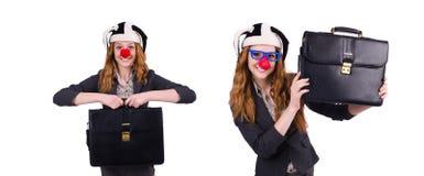 在白色隔绝的滑稽的妇女小丑 免版税图库摄影