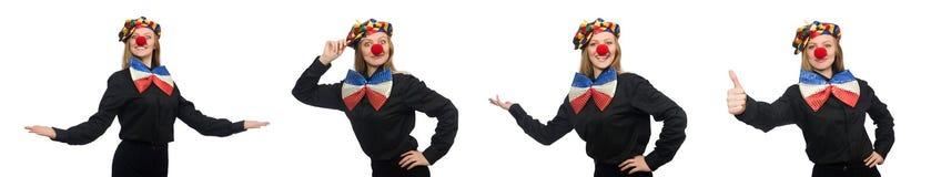 在白色隔绝的滑稽的小丑 免版税图库摄影