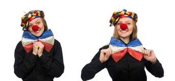在白色隔绝的滑稽的小丑 库存照片