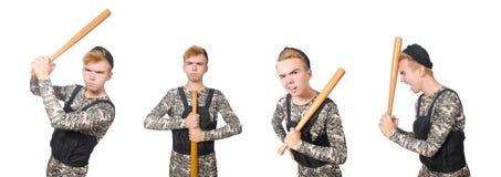 在白色隔绝的滑稽的战士 免版税库存图片