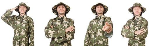 在白色隔绝的滑稽的战士 库存图片