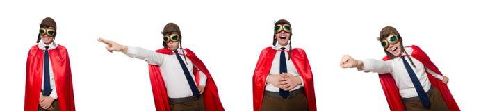 在白色隔绝的滑稽的英雄 免版税库存图片