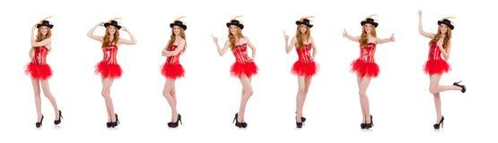 在白色隔绝的狂欢节服装的红色头发女孩 库存图片