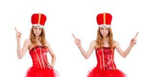 在白色隔绝的狂欢节服装的红色头发女孩 免版税图库摄影