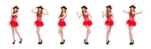 在白色隔绝的狂欢节服装的红色头发女孩 免版税库存图片
