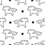 在白色隔绝的独角兽样式无缝的传染媒介背景 与逗人喜爱的独角兽的传染媒介样式 库存图片