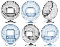 在白色隔绝的现代球形状扶手椅子传染媒介 库存照片