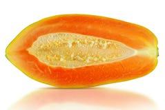 在白色隔绝的番木瓜果子 免版税库存照片