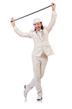 在白色隔绝的白色衣服的绅士 免版税库存图片
