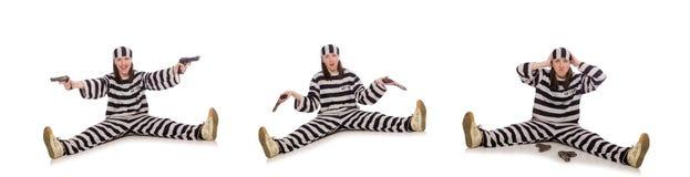 在白色隔绝的监狱的少妇 免版税库存照片