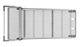 在白色隔绝的空的大购物车顶视图  免版税库存照片
