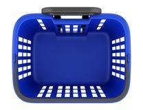在白色隔绝的空的蓝色手提篮顶视图  免版税库存图片