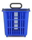 在白色隔绝的空的蓝色手提篮 库存照片