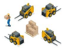 在白色隔绝的等量传染媒介叉架起货车 存贮设备象集合 铲车以各种各样的组合 皇族释放例证