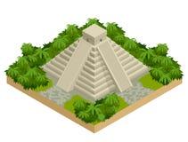 在白色隔绝的等量玛雅金字塔 传染媒介旅行横幅 teotihuacan金字塔在墨西哥,北美 免版税库存照片