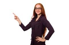 在白色隔绝的紫色服装的女实业家 库存图片