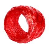 在白色隔绝的红色塑料绳索 免版税库存图片