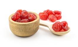 在白色隔绝的红色干樱桃 库存图片