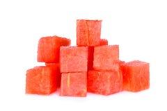 在白色隔绝的红色西瓜立方体 图库摄影