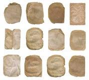 在白色隔绝的纸集合 老纸张集合葡萄酒 免版税库存照片