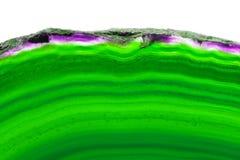 在白色隔绝的绿色纵向玛瑙切片矿物 免版税库存照片