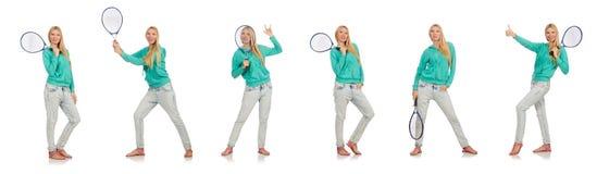 在白色隔绝的网球员 免版税图库摄影