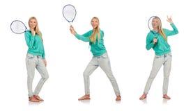 在白色隔绝的网球员 库存图片