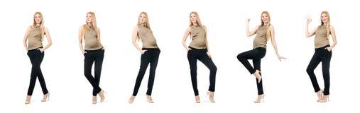 在白色隔绝的美丽的孕妇 免版税图库摄影