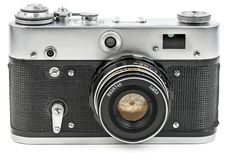 在白色隔绝的老葡萄酒影片照相机 免版税库存图片
