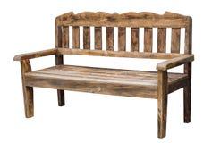 在白色隔绝的老长的木椅子 库存照片