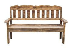 在白色隔绝的老长的木椅子 免版税图库摄影